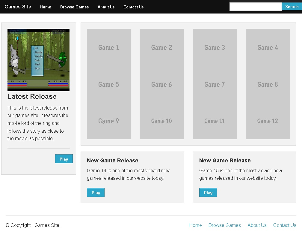 Zurb Foundation Templates | Creating Browse Games Page Of Games Site In Zurb Foundation
