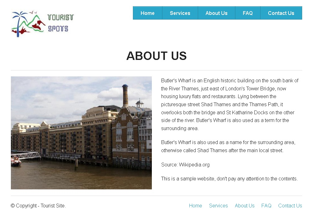 Zurb Foundation Framework Example - Tourist Spot About Us Page
