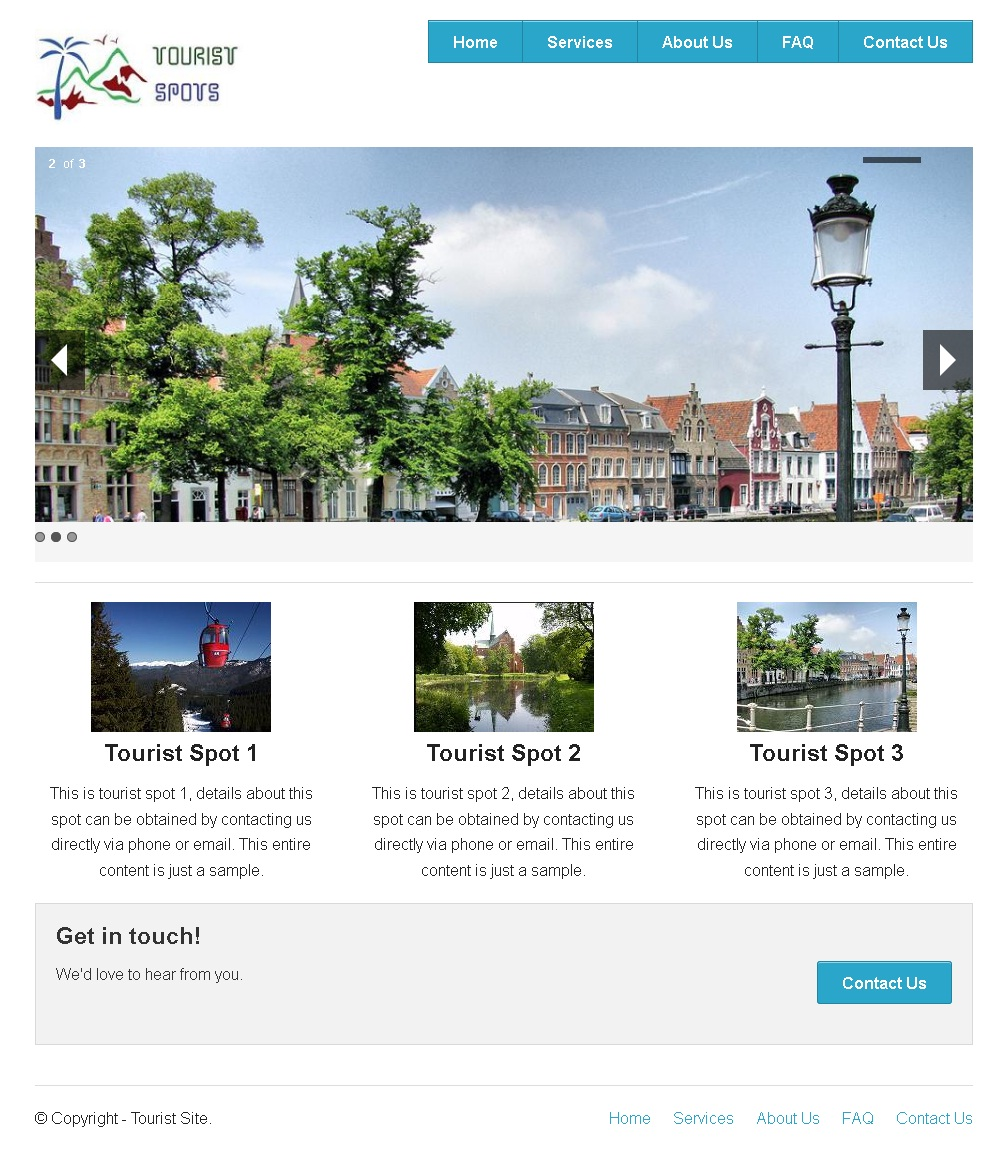 Zurb Foundation Example - Tourist Spot Home Page