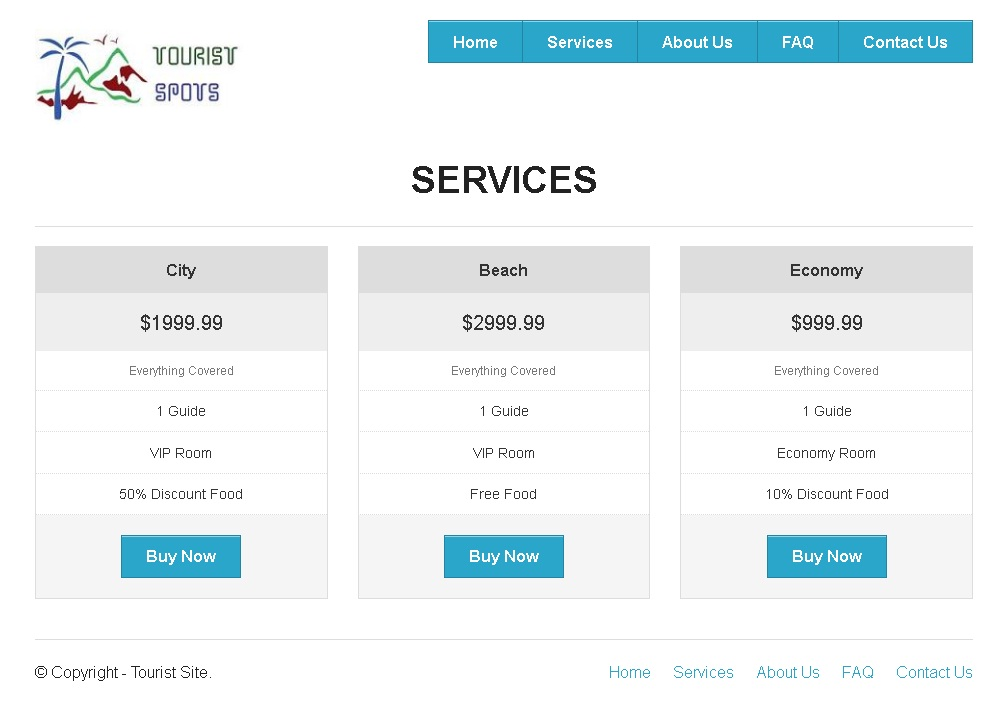Zurb Foundation Framework Example - Tourist Spot Service Page