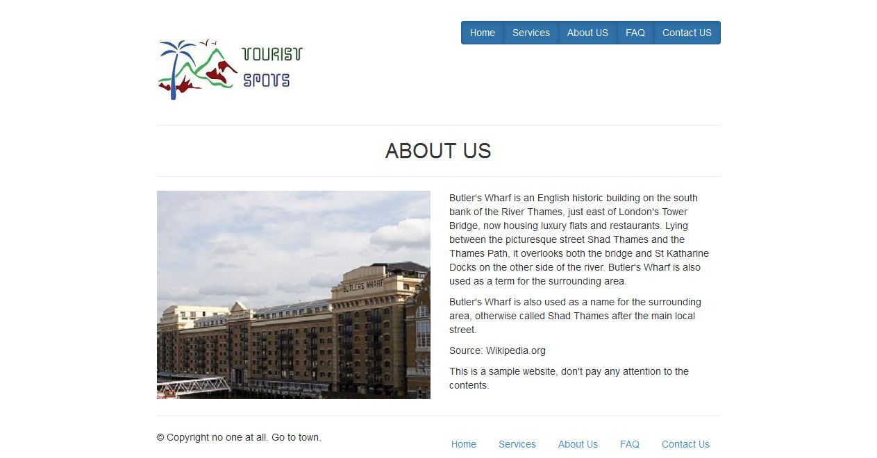 Twitter Bootstrap Tourist Spot Website About Us Page